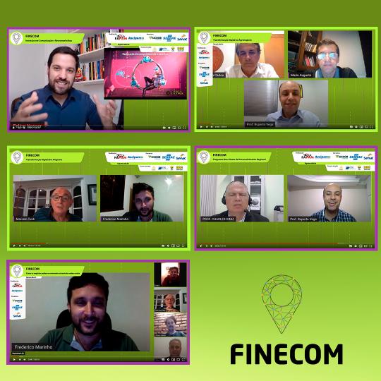 A imagem é formada por cinco prints tirados das palestras on-line e a logo da Finecom
